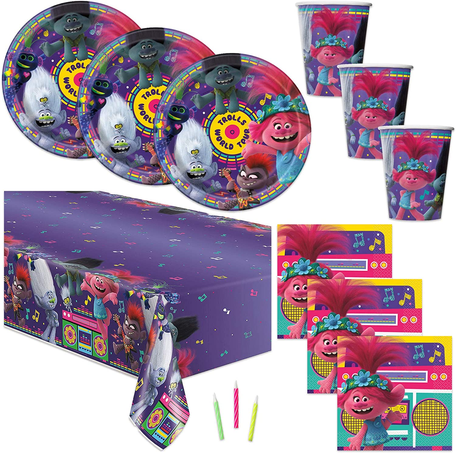 Trolls Theme Birthday Party Supplies - Serves 16 - Tablecover, Plates, Cups, Napkins, Candles