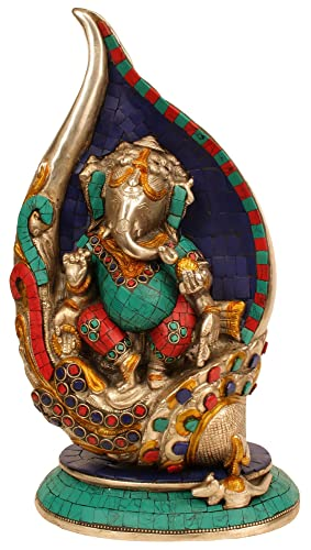 Idol Collections Ganesha Brass Statue, Multicolor