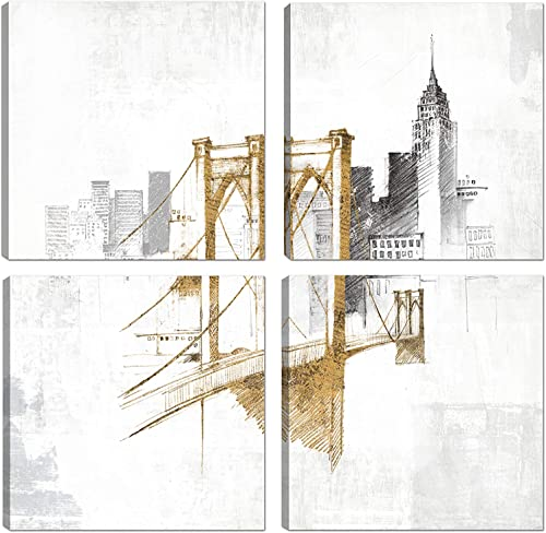 Art Maison Wall Art Canvas, Set of 4 16 X16 , Brooklyn Bridge