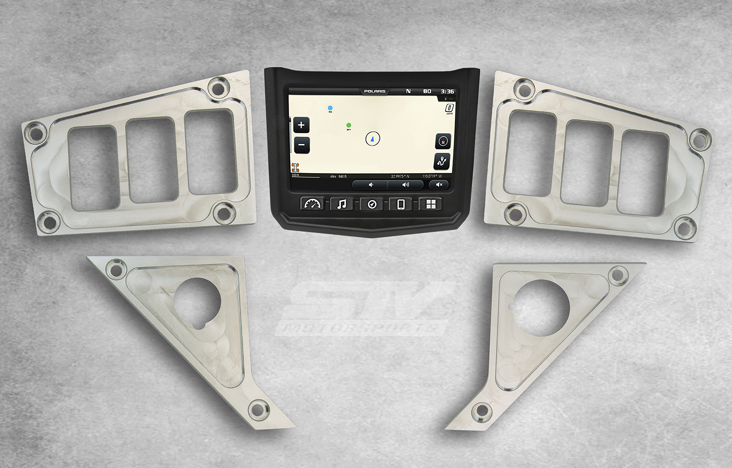 STV Motorsports Custom Aluminum Dash Panel for 2017 POLARIS RZR XP 1000 RIDE COMMAND EDITION with 6 switch openings – MADE 100% in USA