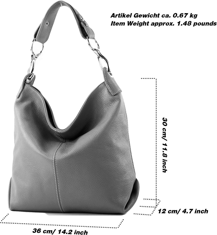modamoda de - ital bolsa de hombro/hombro hecha de cuero T168 Blanco / Negro eMFHjqTs