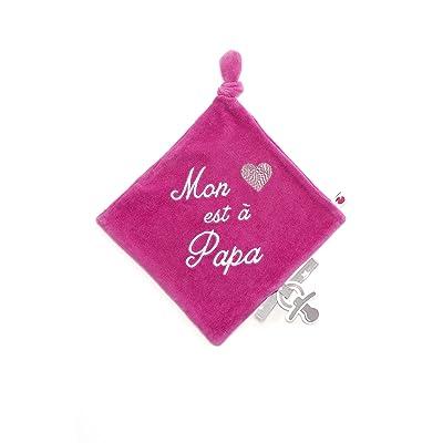 Bb&Co Mon Cœur est à Papa Doudou en Velours Brodé