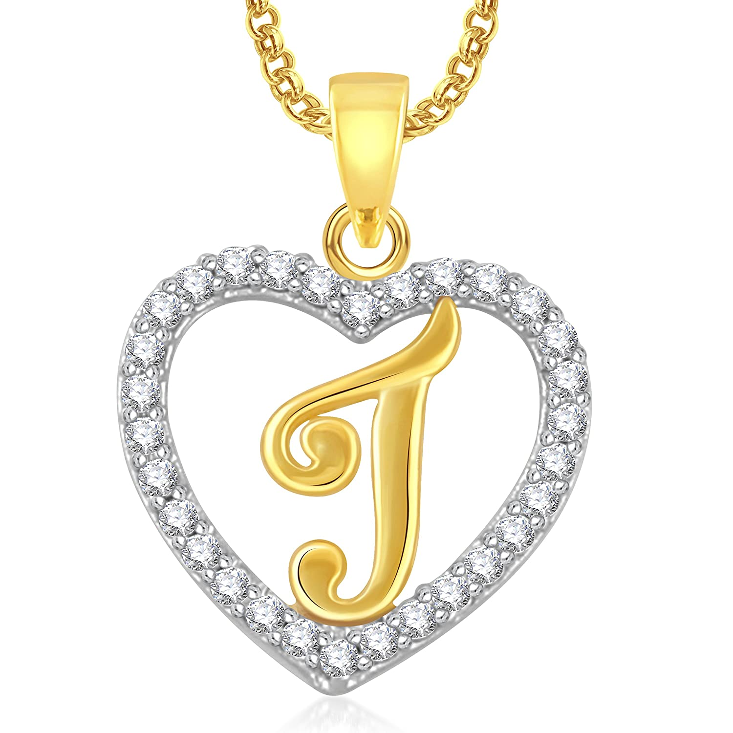 Valentine Gifts Meenaz J Letter Heart With Chain Gold Plated In American Diamond Pendant Lo