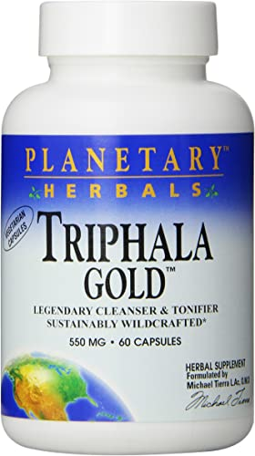 Planetary Herbals Triphala Gold 550mg, Cleanser for GI Tract Wellness, 60 Vegetarian Capsules