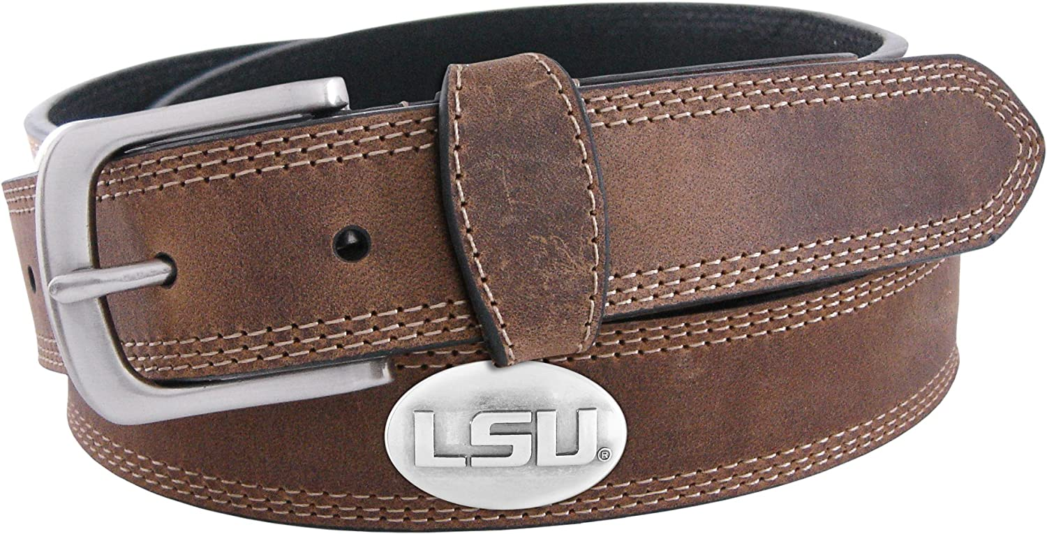 NCAA LSU Tigers Light Crazy Horse Leather Concho Belt