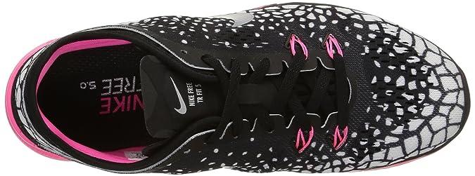 Nike Wmns Nke Free 5.0 TR Fit 5 PRT - para Hombre, Black/mtllc Silver-vlt-White, Talla 37.5