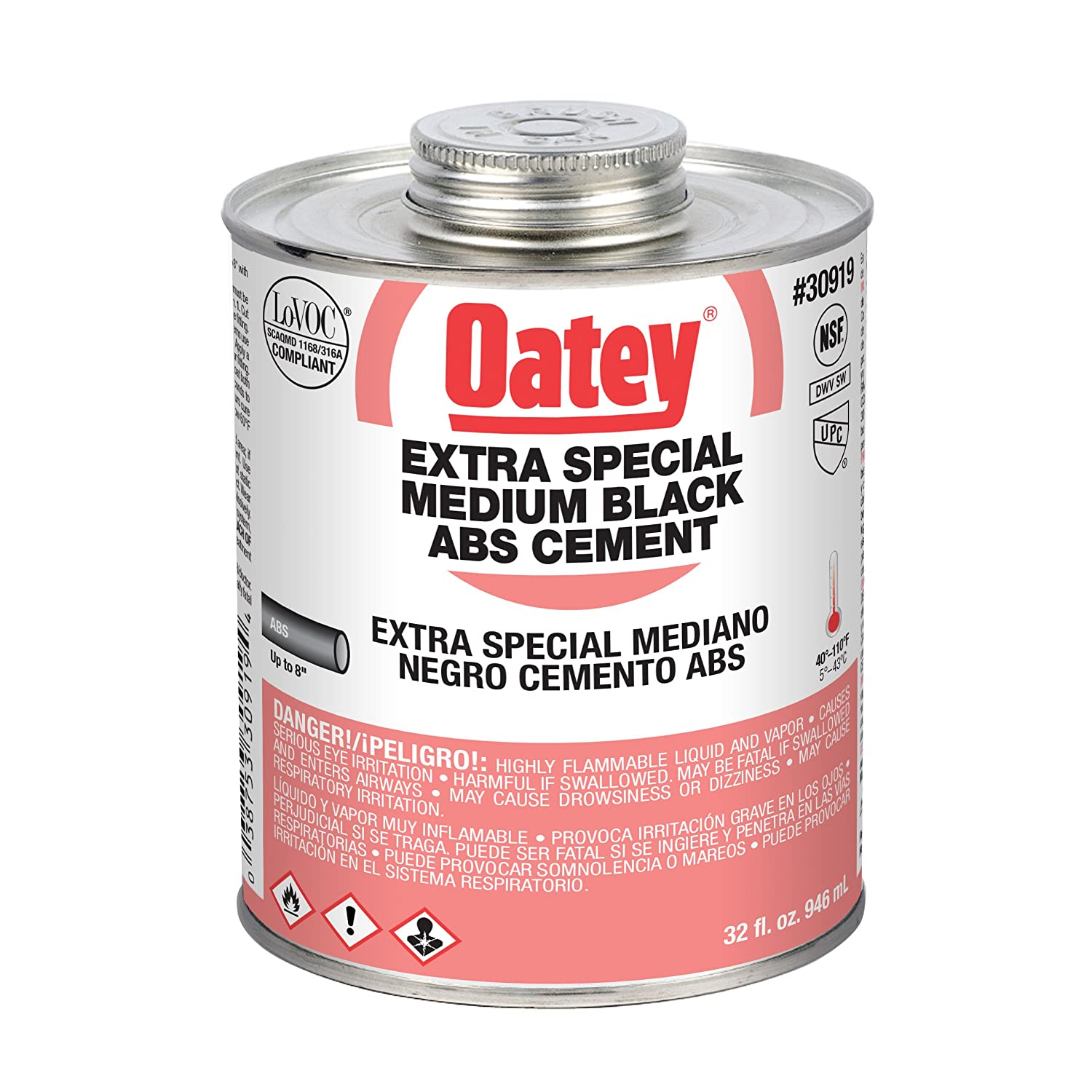 Oatey 30917 Hydraulic Cements, 8 oz, Black