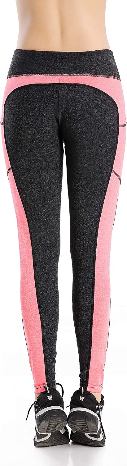 EAST HONG Womens Mesh Yoga Pants Sports Workout Tights Gym Running Leggings with 2 Side Pockets