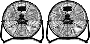 Simple Deluxe 20 Inch 3-Speed High Velocity Heavy Duty Metal Industrial Floor Fans Oscillating Quiet for Home, Commercial, Residential, and Greenhouse Use, Outdoor/Indoor, Black, 2 Pack