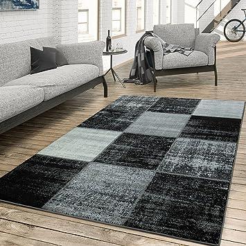 Tu0026T Design Teppich Wohnzimmer Modern Kariert Meliert Schwarz Weiß Grau,  Größe:60x100 Cm