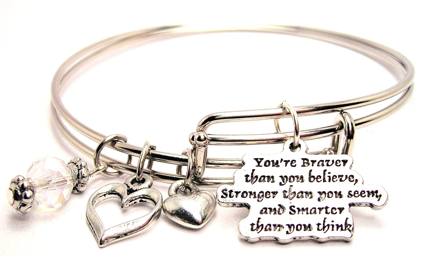 Amazon.com: You\'re Braver Than You Believe Adjustable Wire Bangle ...
