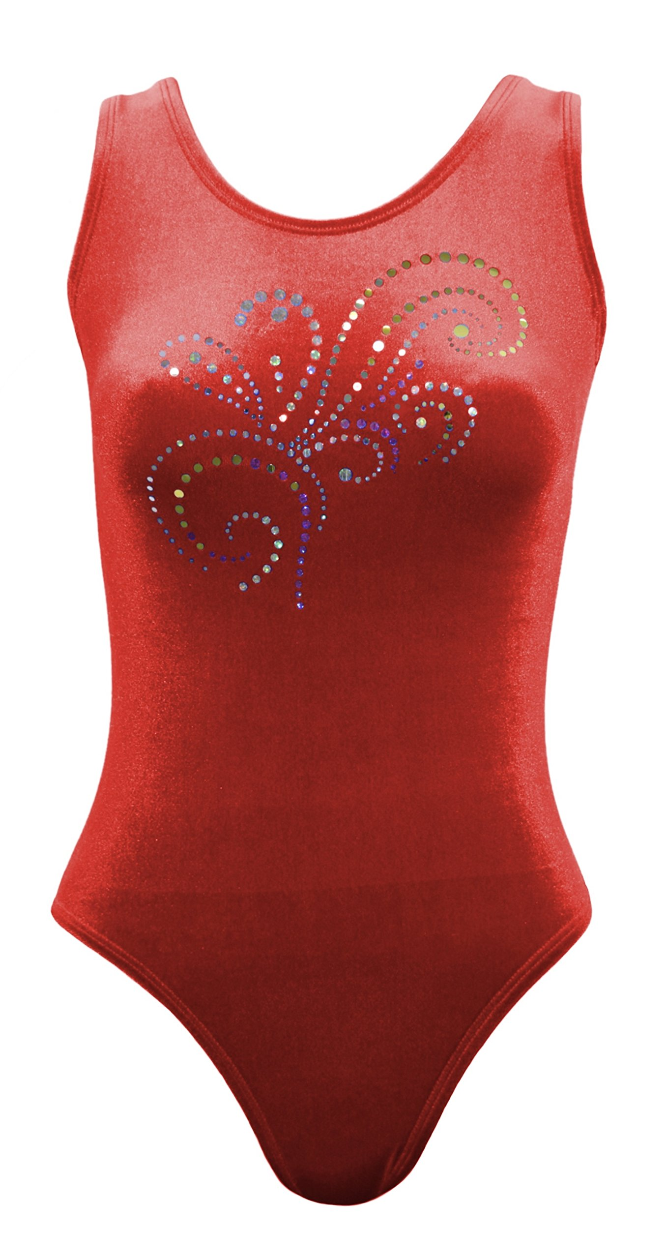 Sookie Active Velvet Classic Tank Leotard with Sparkle Design (Red, Ladies - 4X) by Sookie Active
