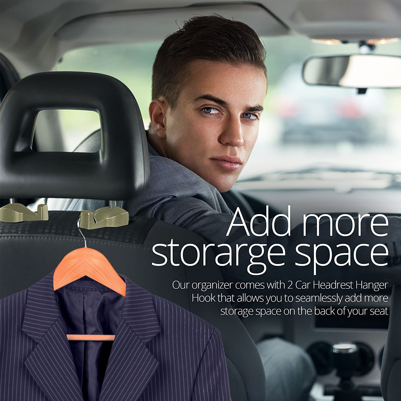PU Leather Console Car Seat Catcher with 2 Velcro Tape /& 2 Car Headrest Hanger Hook Gray Seat Side Caddy Catcher Gap Filler Car Seat Organizer Pocket- 2 Packs /& Pockets Seat Organizer