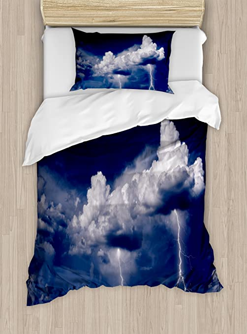 Cartoon Cloud and Rain Blue Quilt Cover Pillow Sham King Queen Twin Duvet Covers