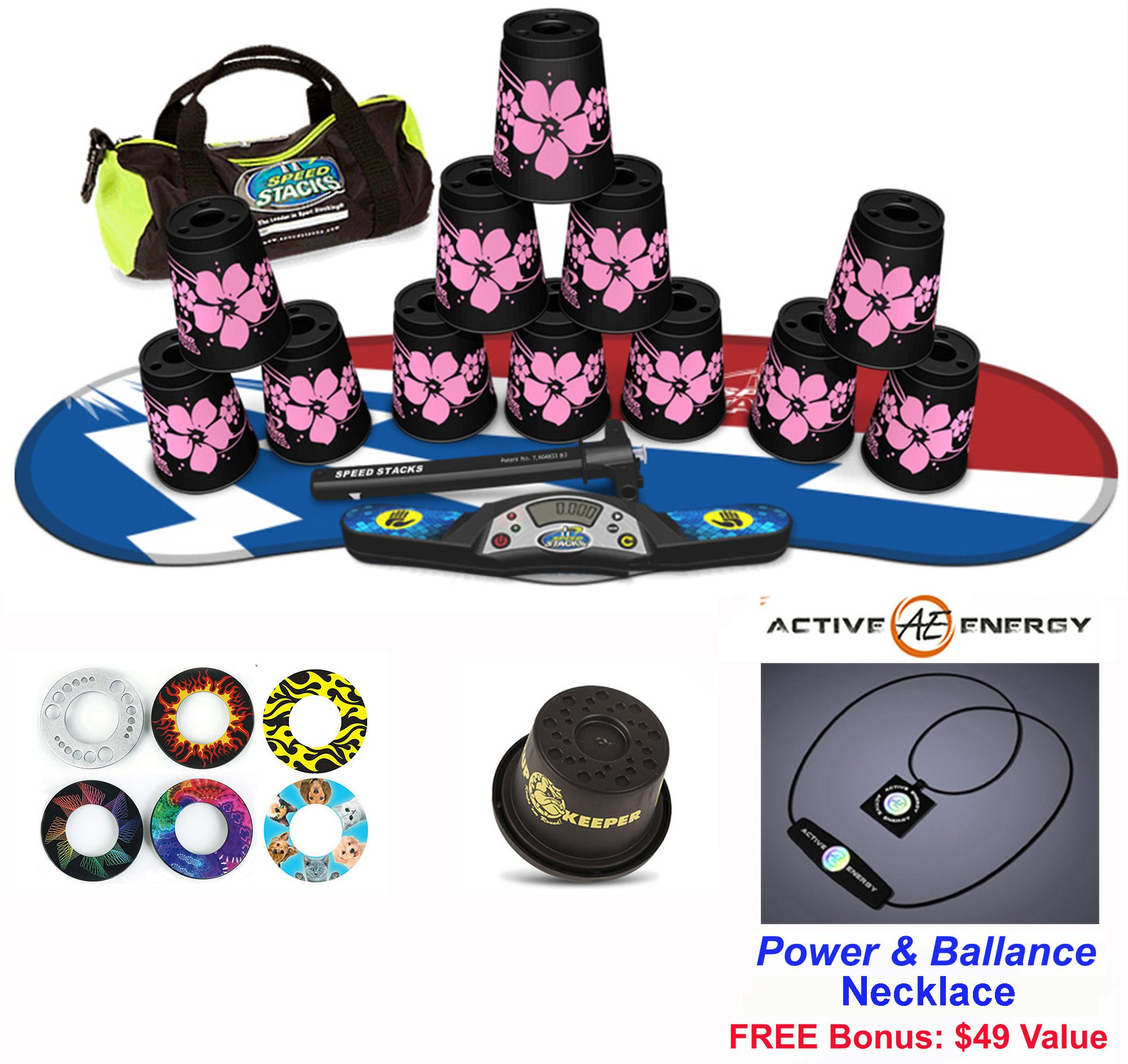Speed Stacks Combo Set 'The Works'': 12 PINK HAWAIIAN 4'' Cups, Atomic Punch Gen 3 Mat, G4 Pro Timer, Cup Keeper, Stem, Gear Bag + Active Energy Necklace by Speed Stacks