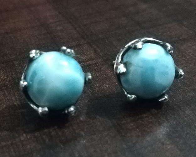 f3fb0b0ad Larimar Stud Earrings.Sterling Silver Earring.Petite Gemstone.Republican  Larimar.Healing Crystal.Blue Stone Earring.Tiny Studs Gift.Dominican Larimar  Studs.