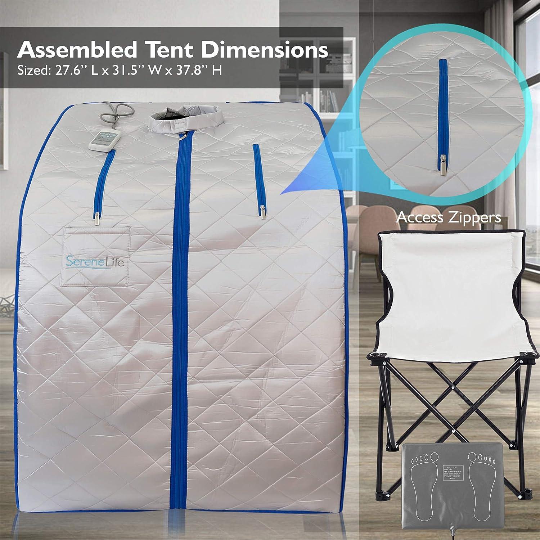 Sauna Infrarouge et Portable SereneLife Spa /à Domicile pour une Personne Couleur: Argent Id/éal pour la D/ésintoxication et la Perte de Poids