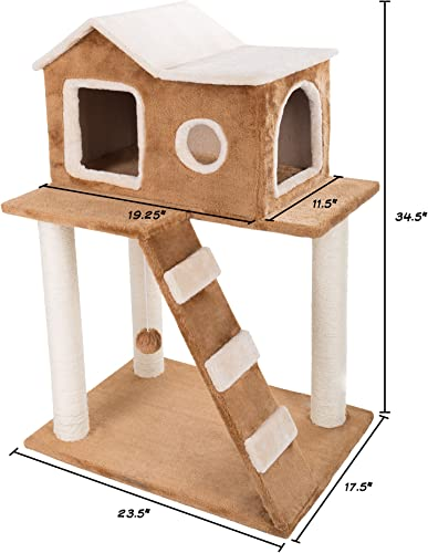 3 Tier Cat Tree- Plush Multilevel Cat Tower with Scratching Posts, Climbing Ladder, Cat Condo and Hanging Toy for Cats and Kittens By PETMAKER 34.5
