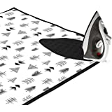 Encasa Homes Ironing Mat/Pad (Large 47 x 28 inch) with 3mm Padding & Silicone Iron Rest for Steam Pressing on Tabletop or Bed - Heat Resistant, Portable, Quilting & Travel Blanket - Black Arrow