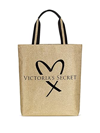 1f2ed77b69ec68 Amazon.com: Victoria's Secret Fashion Show tote bag glamour glitter Gold &  black heart logo: Clothing