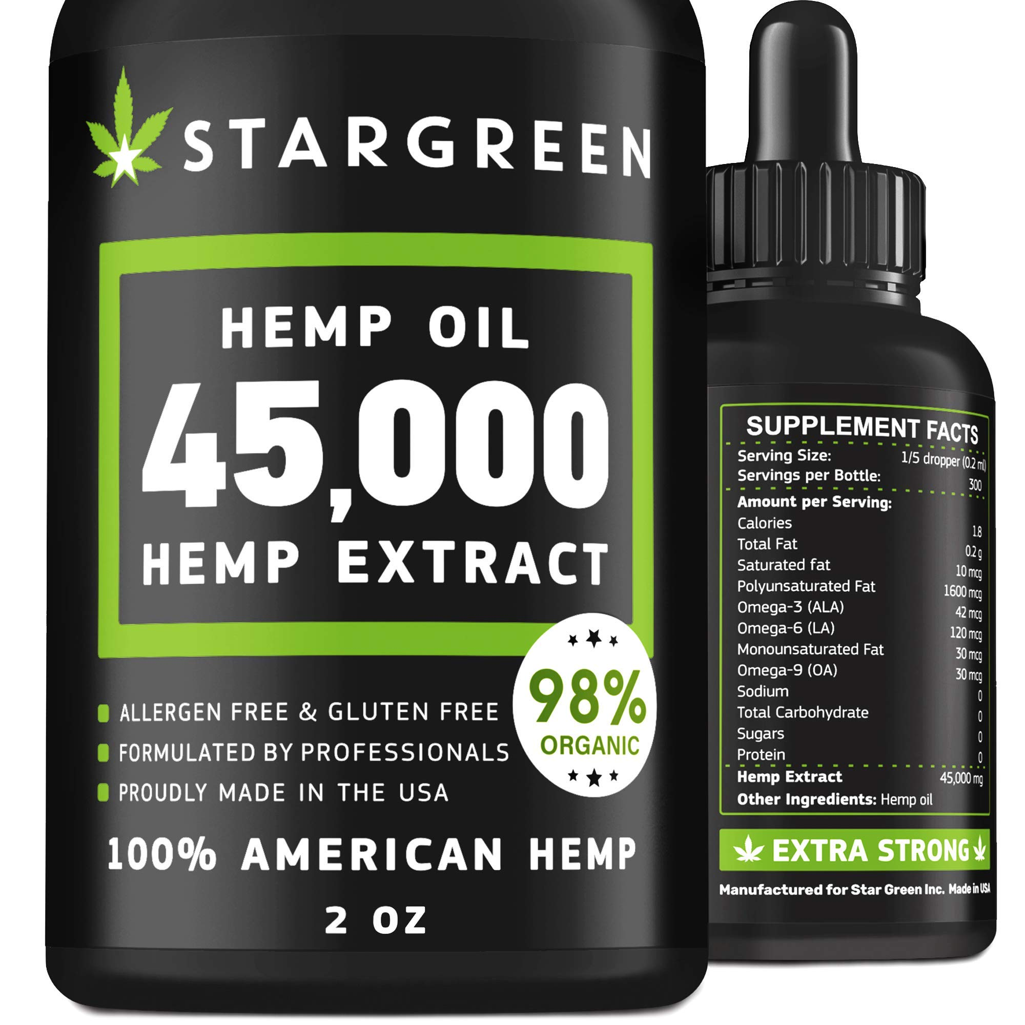 Hemp Oil Extract for Pain Relief - Anxiety Mood Stress Support - Updated Dosage 45000 mg - Vitamin D, E & Omega 3, 6, 9 - Organic Hemp Extract - Made in USA - Deep Restful Sleep - Immunity Boost
