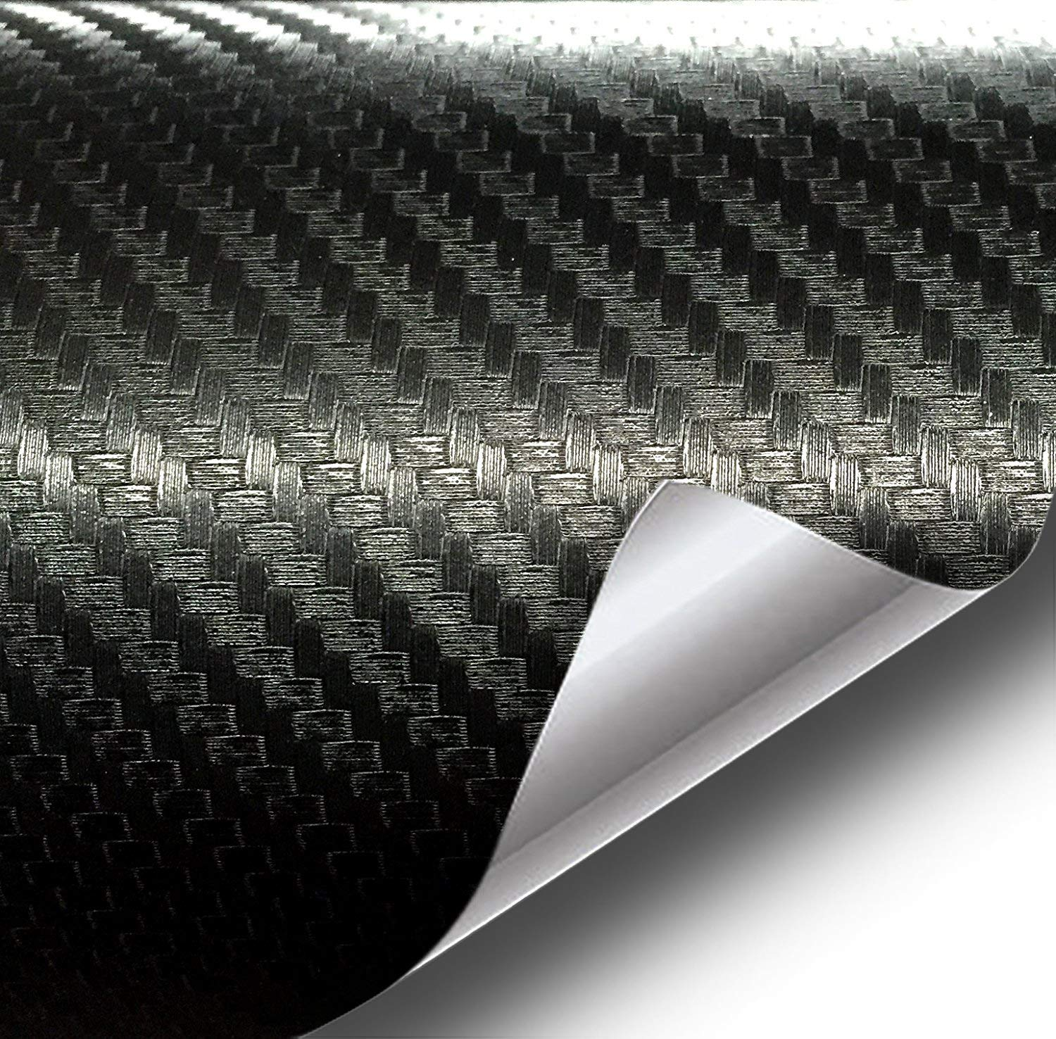 VViViD XPO Dry Deep Black 3D Carbon Fiber Vinyl Wrap Roll with Air Release Technology (20ft x 5ft)