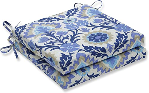 Pillow Perfect Outdoor/Indoor Santa Maria Azure Squared Corners Seat Cushion 20x20x3 Set of 2 ,Blue