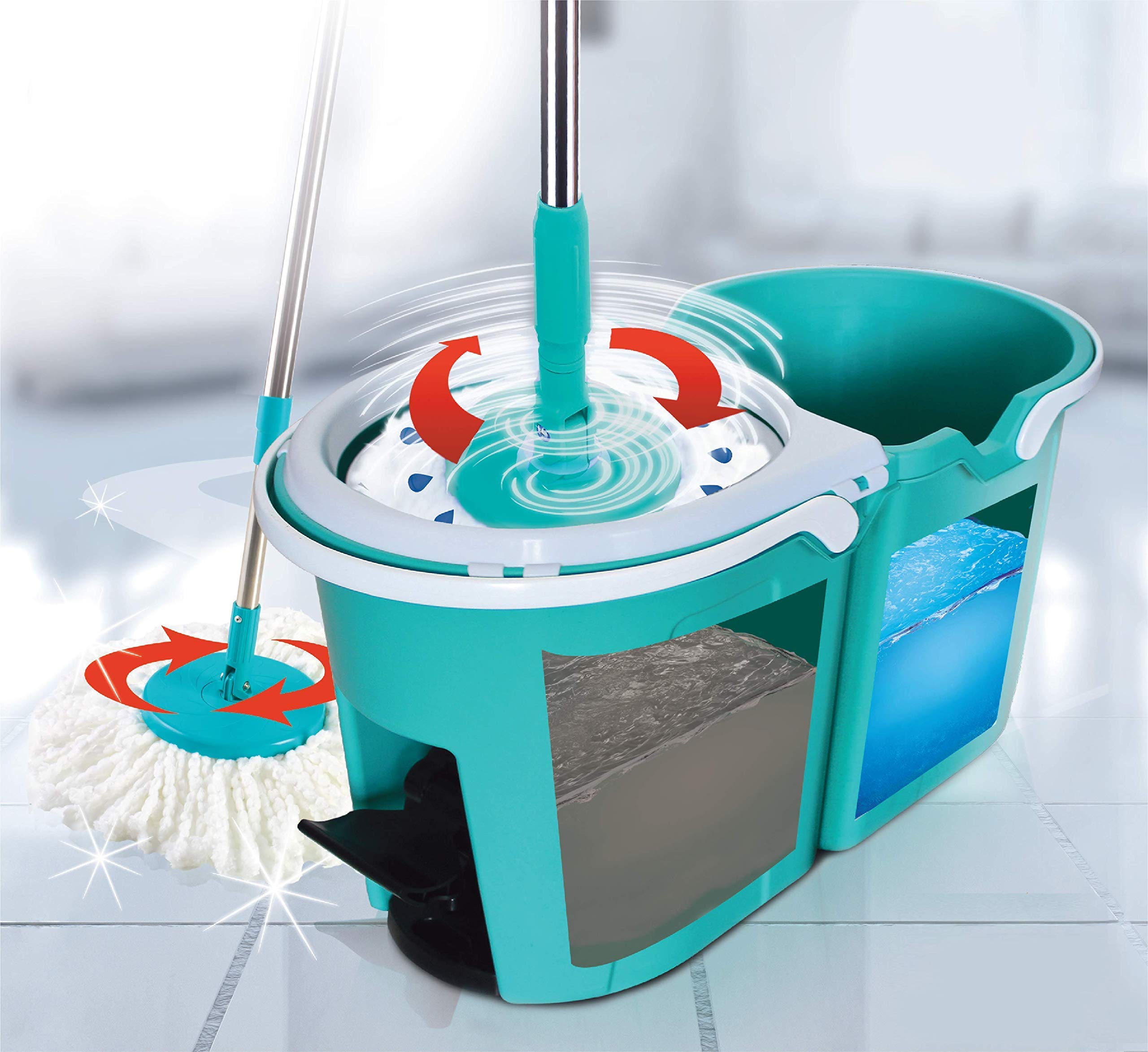 Spin Matic - Spin Mop Bucket with Wringer, Floor Cleaning System, 2 Microfiber Mop Refills