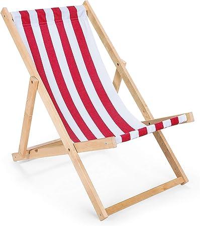 IMPWOOD Chaise longue de jardin en bois, fauteuil de