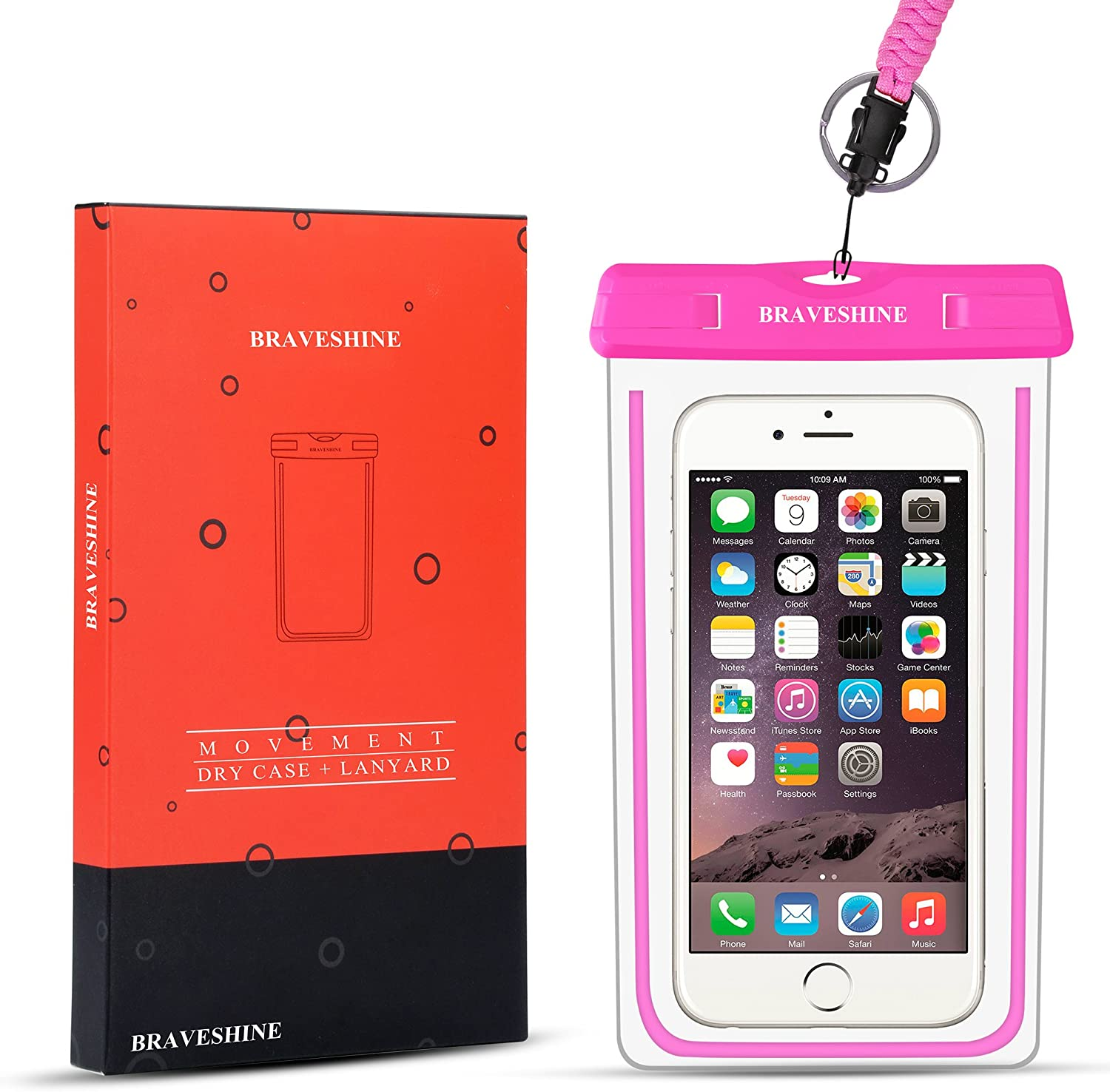 Pink BRAVESHINE Waterproof Cell Phone Pouch Universal Waterproof Case Phone Dry Bag for Boating Kayaking Surfing Snorkeling Water Sports for iPhone Xs Max XR XS X 6 7 8 Plus Galaxy S8 S7 Edge LG