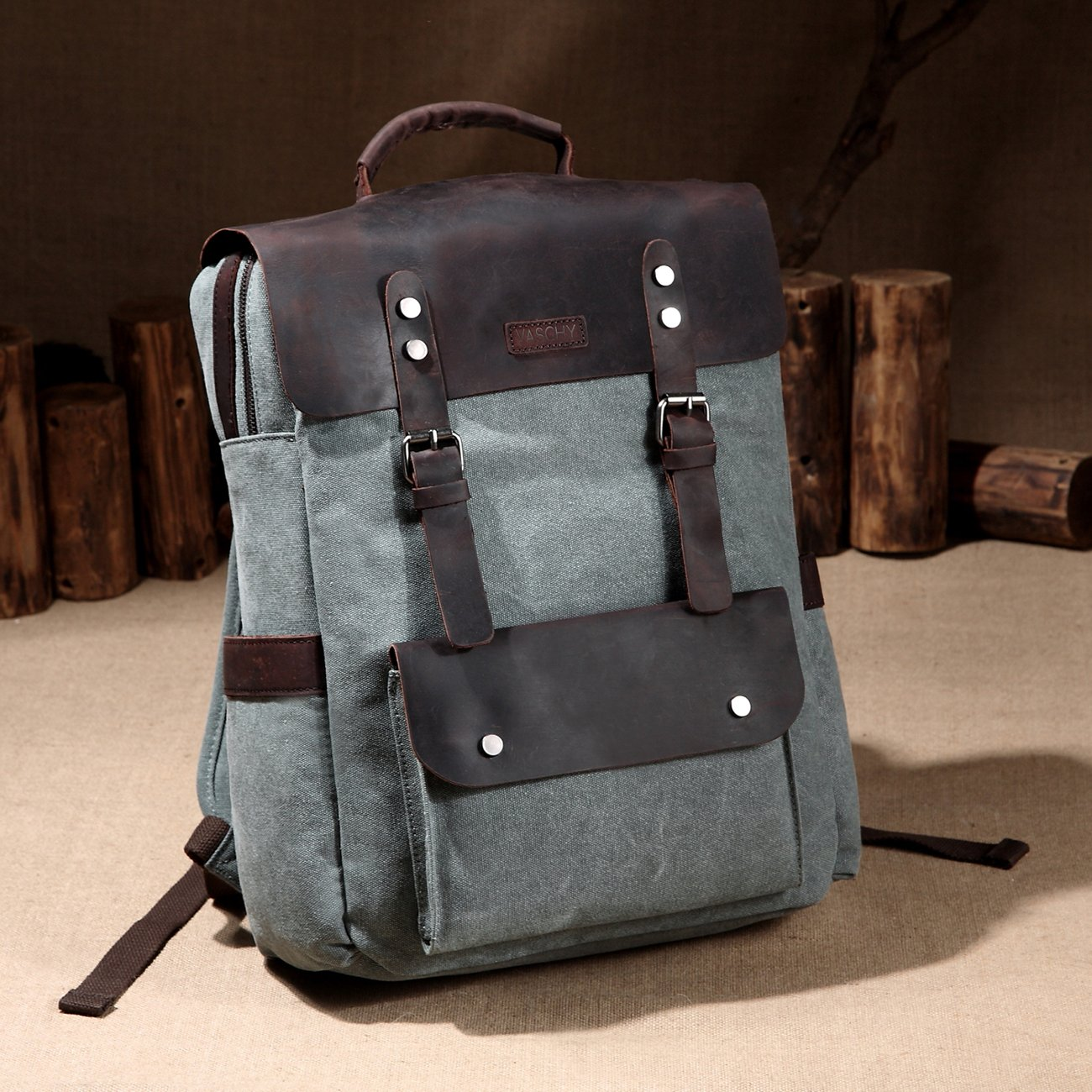 05bb53508d9c Amazon.com  Vaschy Vintage Leather Backpack for Women and Men Canvas  Ergonomic Rucksack Bookbag Daypack fits 15.6 inch Laptop  Computers    Accessories