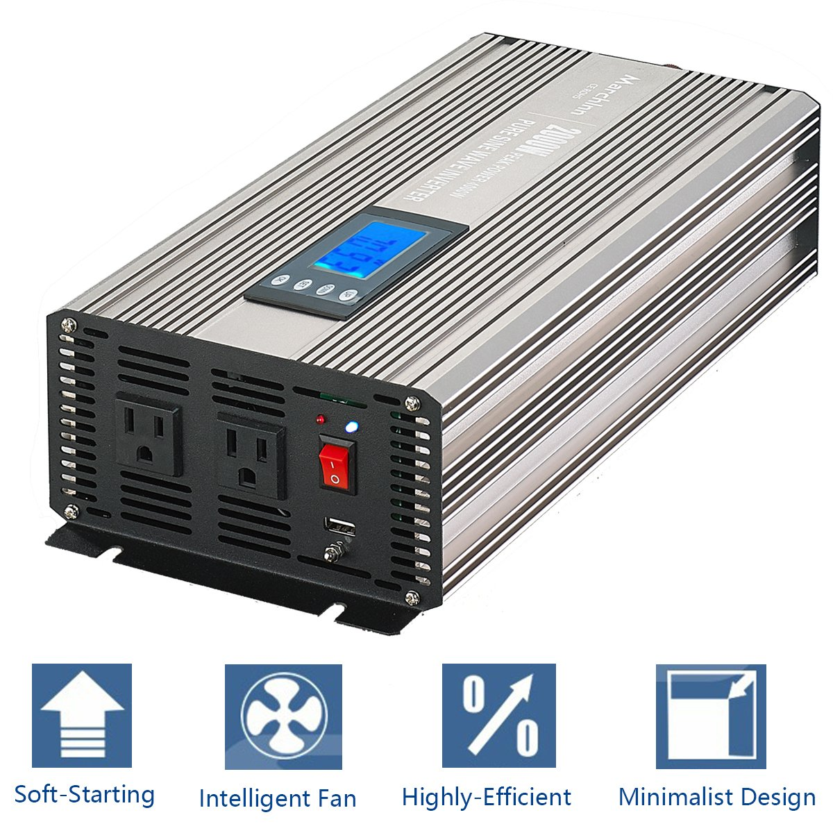MarchInn 2000W (4000W Surge) Pure Sine Wave Solar Power Inverter Off Grid 12V DC to 120V AC Power Converter Solar Panel, RV for Home Car Use 12 V Generator with Smart-D Digital Display