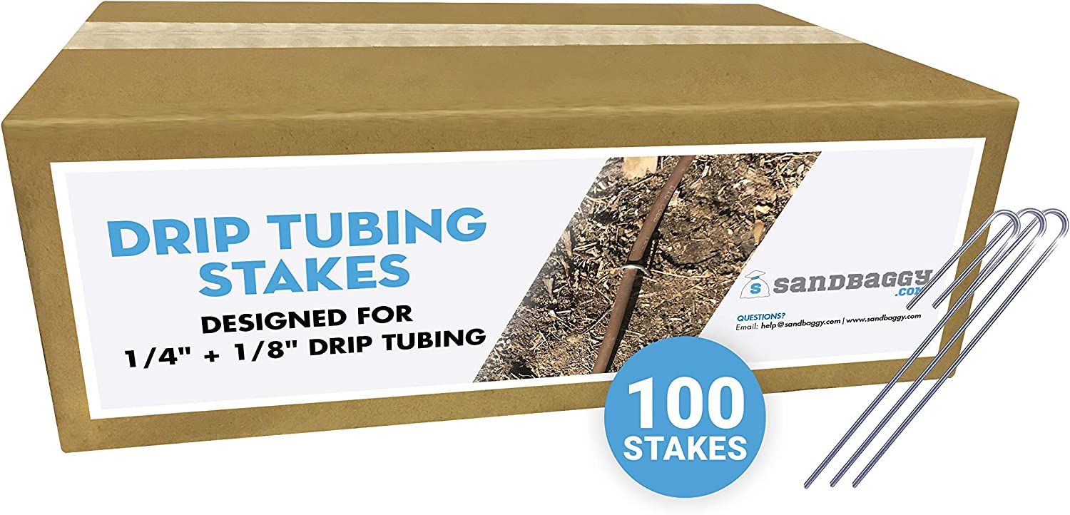 Sandbaggy DRIP TUBING Stakes Landscape Staples 5 inch ~ Drip Anchors - Landscape Pins -Garden Staples - Ground Cover Staples - Fence Anchors - Lawn Nails - Garden Stakes (100)