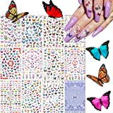 Kalolary 12 Sheets Butterfly Nail Art Stickers Decals, 3D Self-Adhesive Butterfly for Nails Art Design Butterflies…