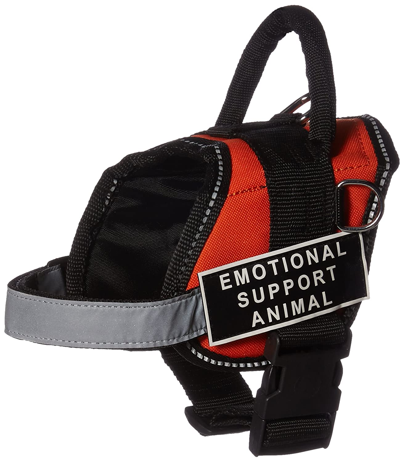 Dean & Tyler Works Emotional Support Animal Pet Harness, XX-Small, Fits Girth Size  18 to 21-Inch, orange Black