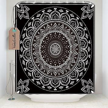 Bohemian Boho Mandala Patternsshower Vorhang Badezimmer Dekoration, Schwarz  Weiß, Polyester, Schwarz / Weiß
