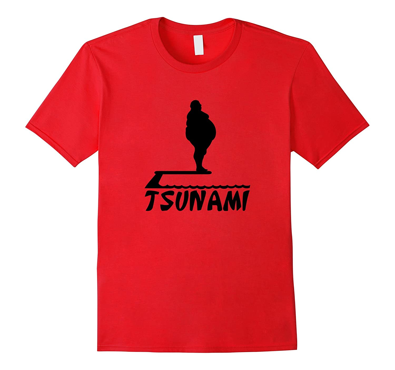 Big Man Causing A Tsunami In A Pool Funny Graphic T-shirt-Art