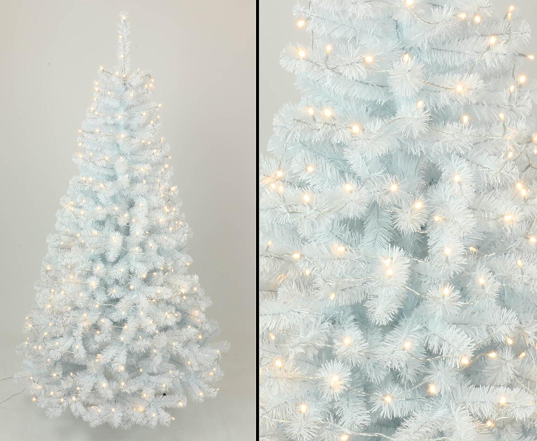 Kunstpflanzen-discount  Tannenbaum weiß künstlich mit 210cm und 288 LED Lampen, 705 weiße Zweige mit PVC Nadeln B1