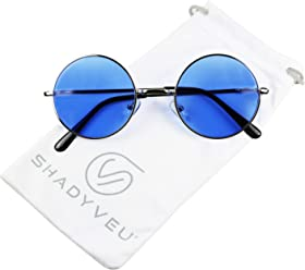 8d5faaef167f1 ShadyVEU - Retro Colorful Tint Lennon Style Round Groovy Hippie Wire  Sunglasses