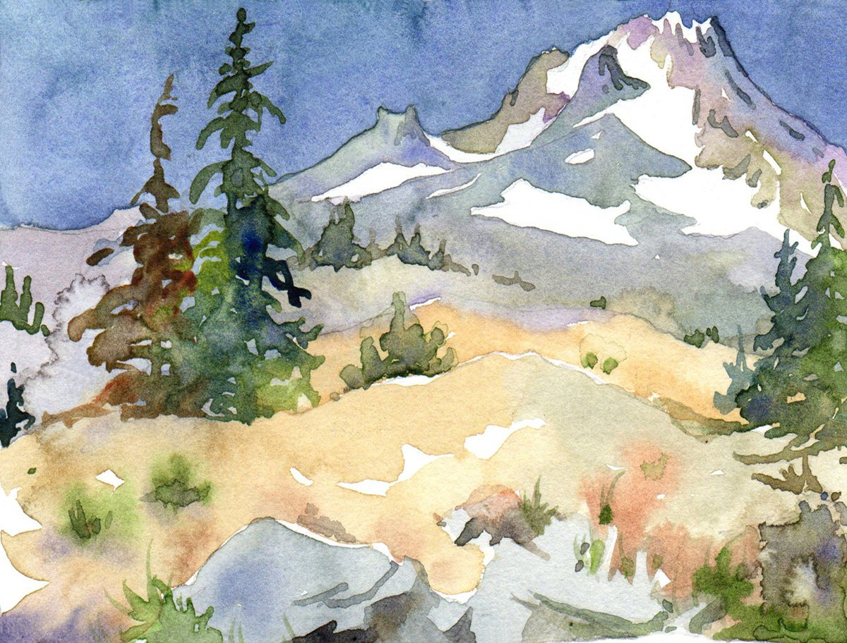Mount Hood in Summer Morning Light, Archival Print on Paper, 7 X 9 Inches
