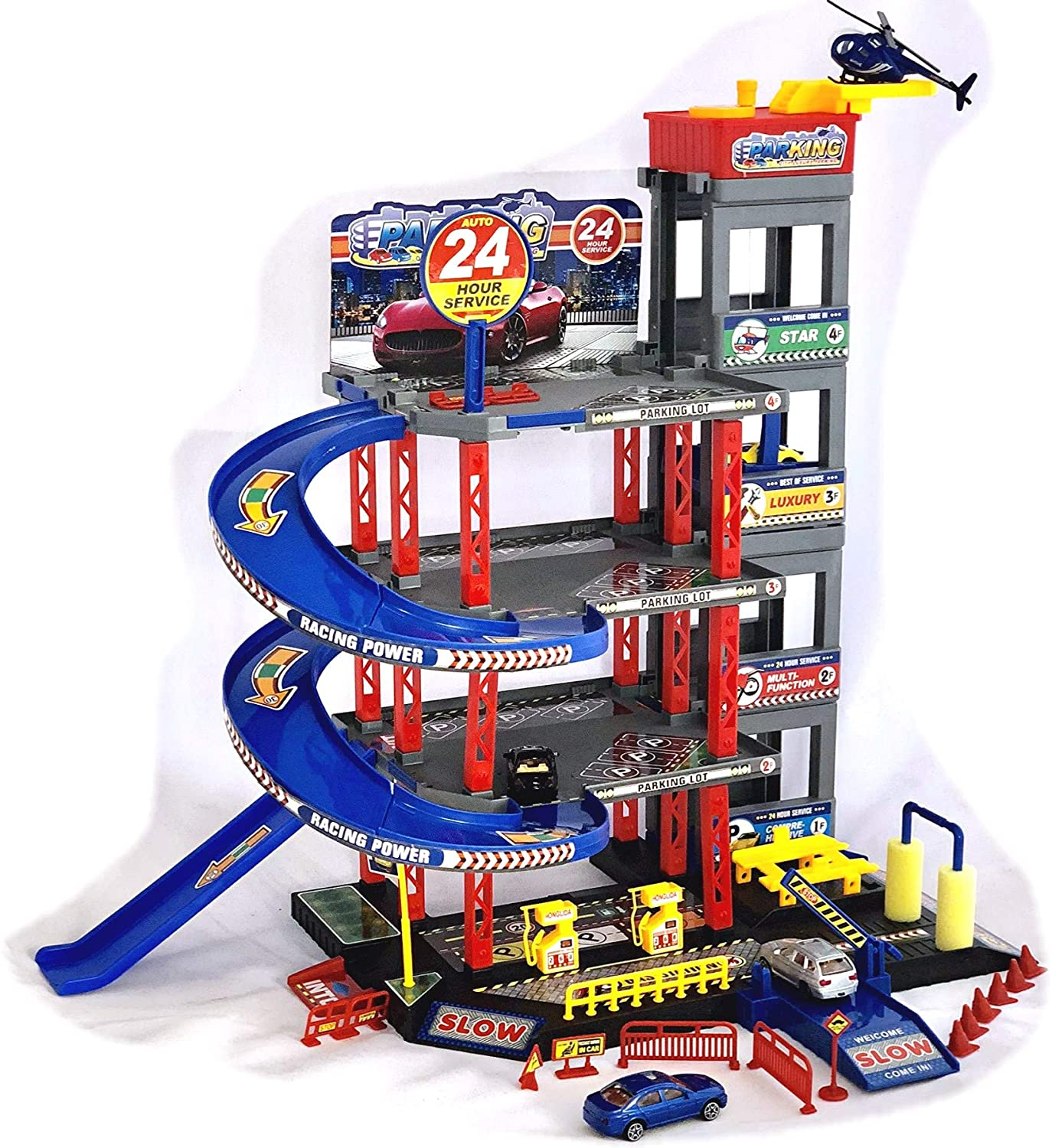 Children's Car Garage Garage with 4 Toy Cars and Helicopter Play Set with Petrol Station, Lift, Car Wash and Workshop