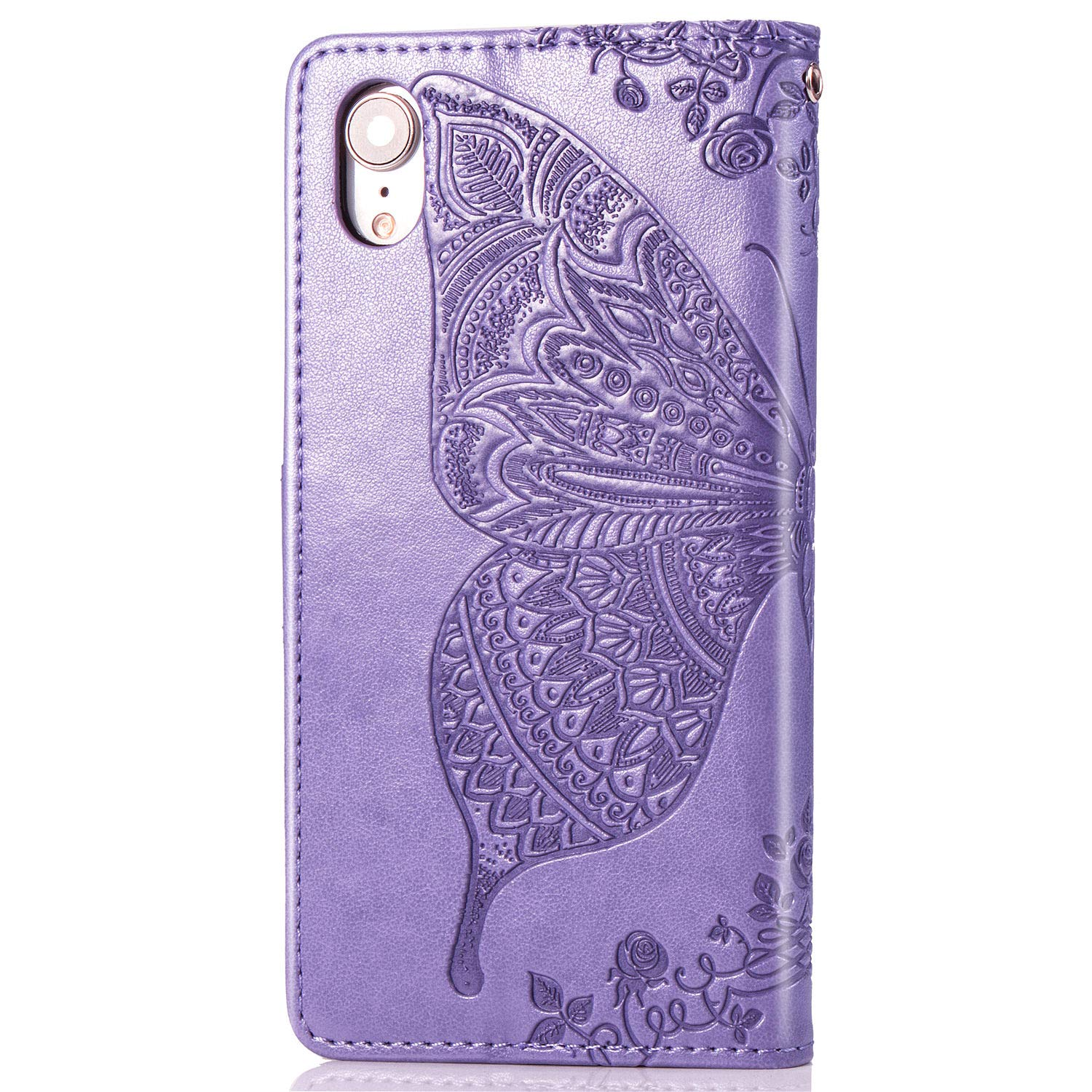 Dust Plug Stylus for iPhone XR Wallet Case,Rose Gold ikasus Case for iPhone XR Cover,Embossing Mandala Butterfly Rose Vine Flip Folio Wallet Case PU Leather Stand Card Slots Protective Case Cover