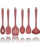5+1 Piece Silicone Spatula Set in Red with Bonus Pasta Spoon by Polar Pantry - Spatula, Spoonula, Turner, Scraper and Ladle