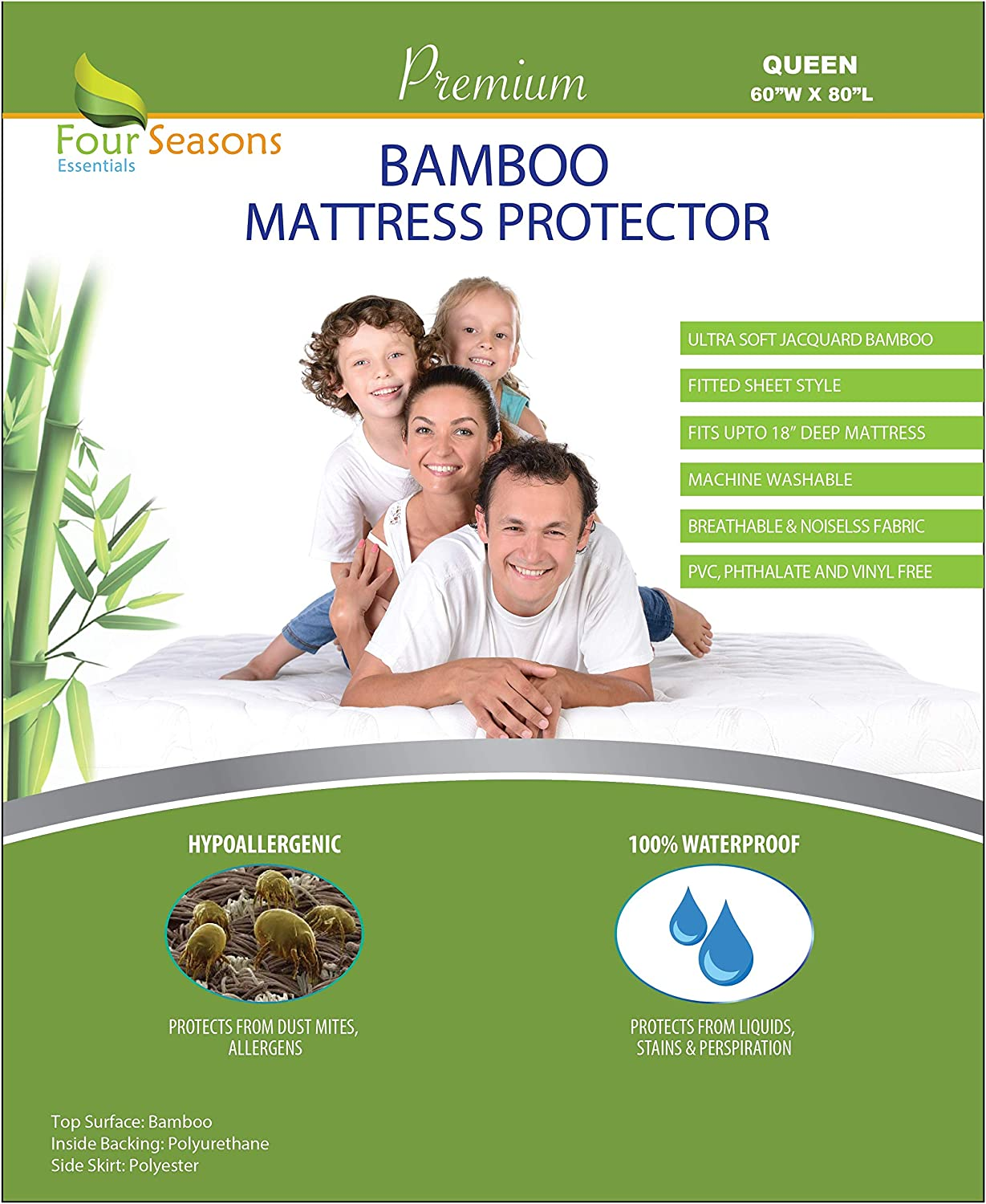 Four Seasons Essentials Queen Bamboo Mattress Protector - Waterproof Fitted Sheet Mattress Cover Hypoallergenic Premium Quality Soft Pad Protects from Dust Mites Allergens