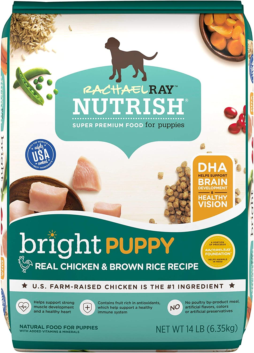 Amazon.com: Rachael Ray Nutrish Bright Puppy Premium Natural Dry Dog Food,  Real Chicken & Brown Rice Recipe, 14 Pounds: Pet Supplies