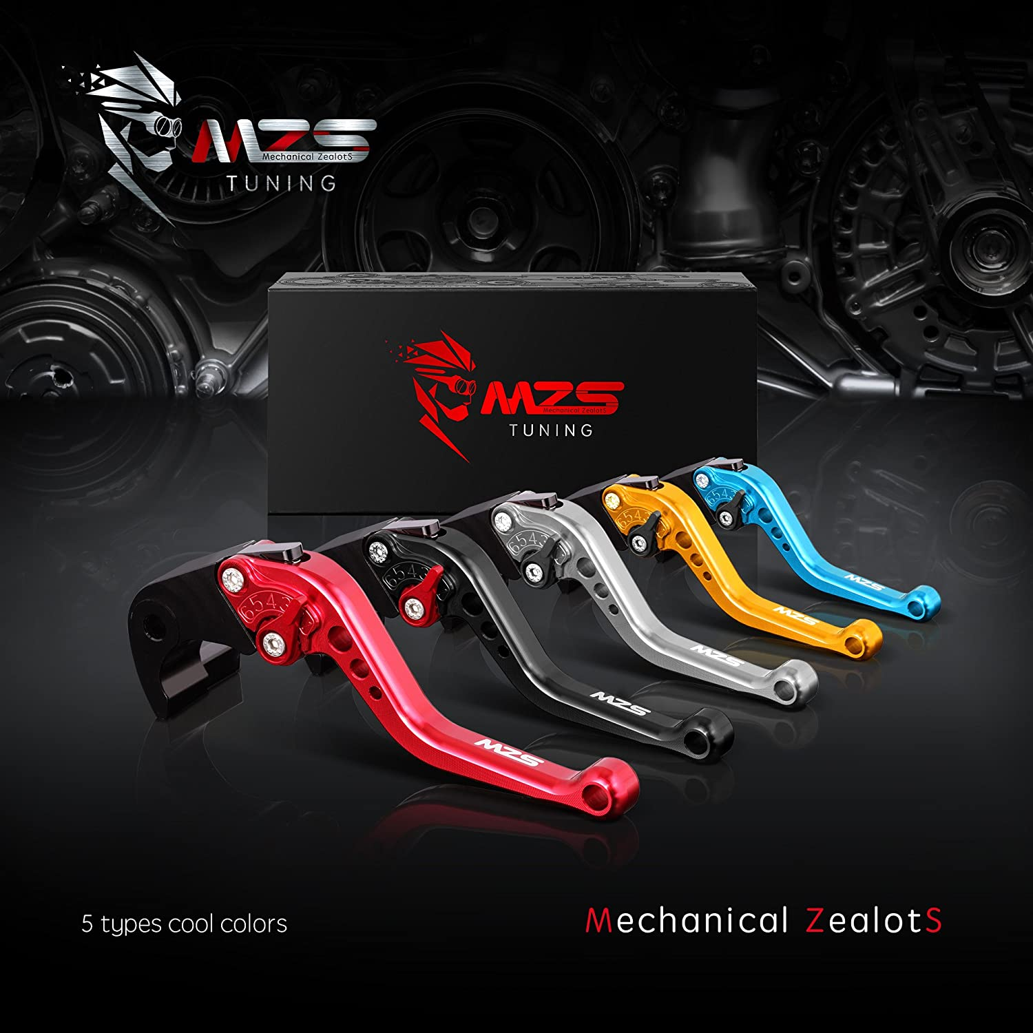 MZS Short Brake Clutch Levers for Aprilia Dorsoduro 1200 2011-2016,Capanord 1200//Rally 2014-2017,Falco//SL1000 2000-2004,Tuono//R 2003-2009,RSV Miller//R 1999-2003 Gold