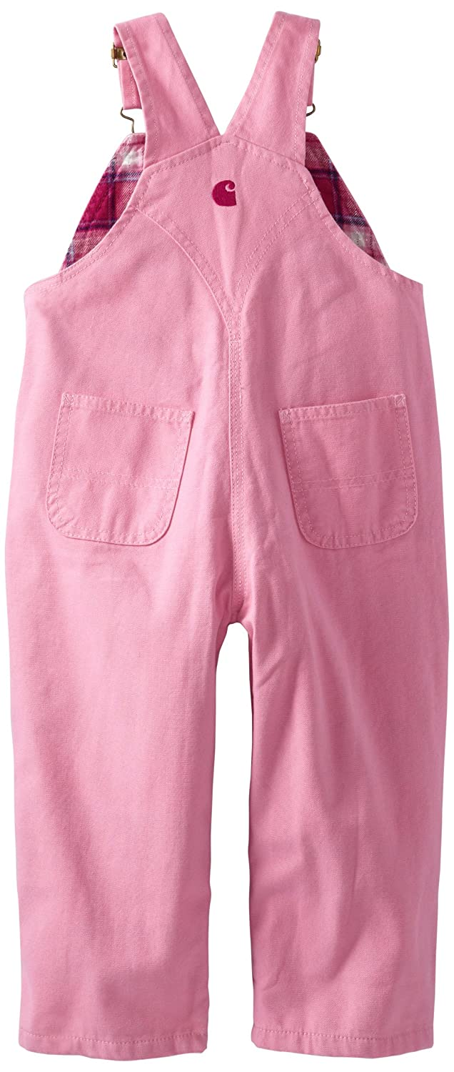 Carhartt Little Girls Washed Microsanded Canvas Bib Overall Flannel Lined
