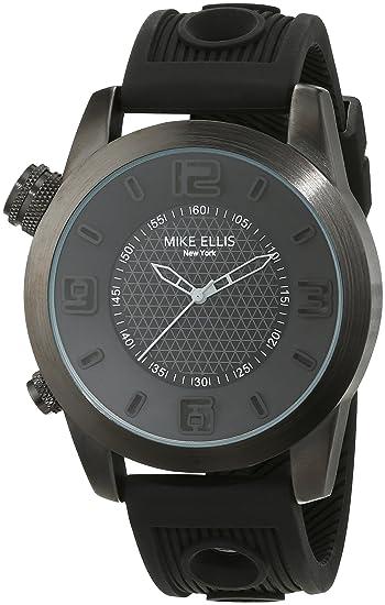 Mike Ellis New York an:e - Reloj de cuarzo para hombre, correa de silicona color negro: Amazon.es: Relojes
