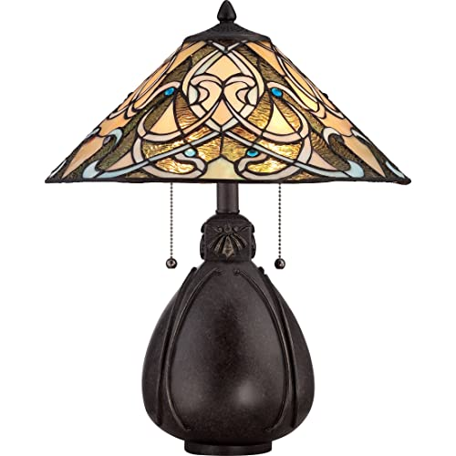 Quoizel TF1846TIB India Tiffany Table Lamp, 2-Light, 150 Watts, Imperial Bronze 20 H x 16 W
