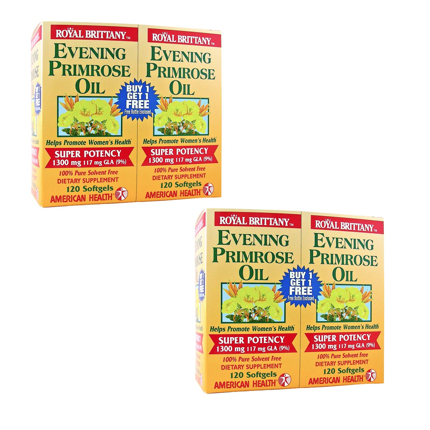 Royal Brittany Evening Primrose Oil 1300mg Two (2) Twin Packs